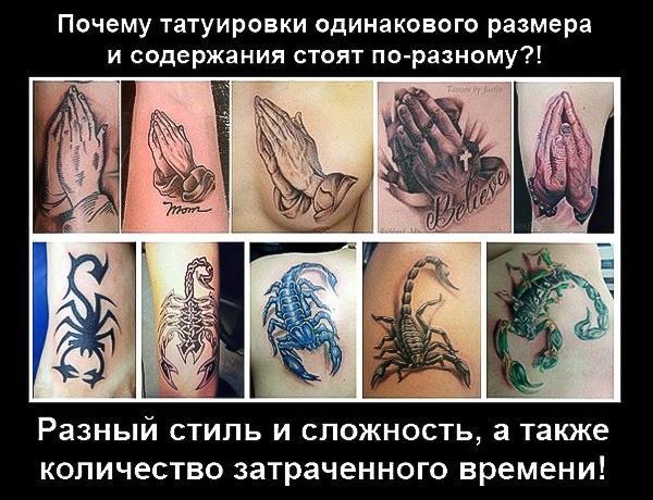 Татуировки и сколько стоит